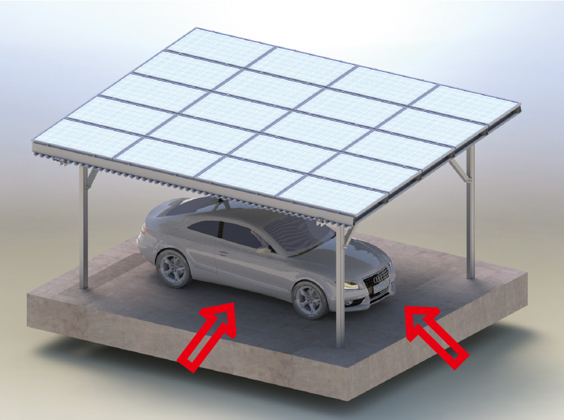 Carport solar panel pv large space parking
